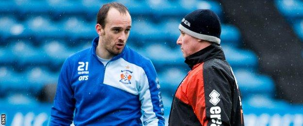 Kilmarnock goalkeeper Jamie MacDonald and manager Lee Clark
