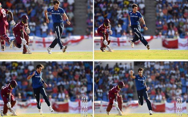 Steven Finn runs out West Indies top-scorer Jason Mohammed