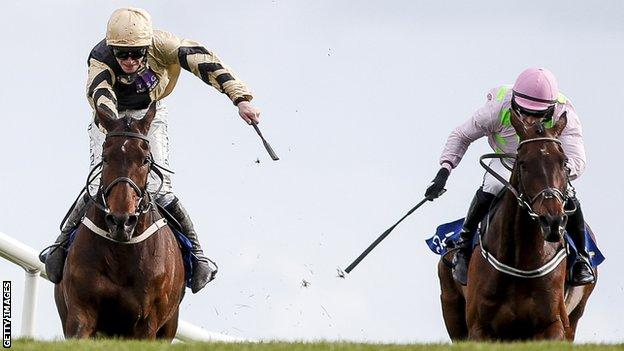 Bellshill edges in front of Djakadam in a dramatic finish to the Punchestown Gold Cup