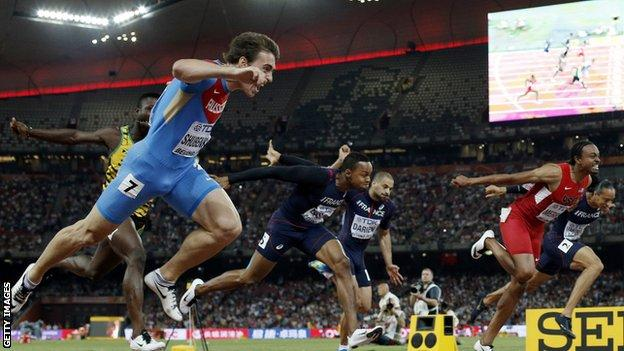 Sergey Shubenkov wins gold in 110m hurdles at the 2015 World Championships in Beijing