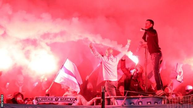 Malmo fans before the match