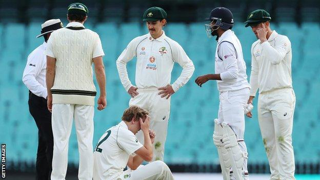Cameron Green Australia A All Rounder Hit On Head While Bowling Bbc Sport