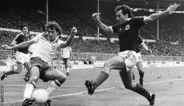 Willie Miller moves to close down England's Trevor Francis in the 1-0 win for Scotland at Wembley in May 1981