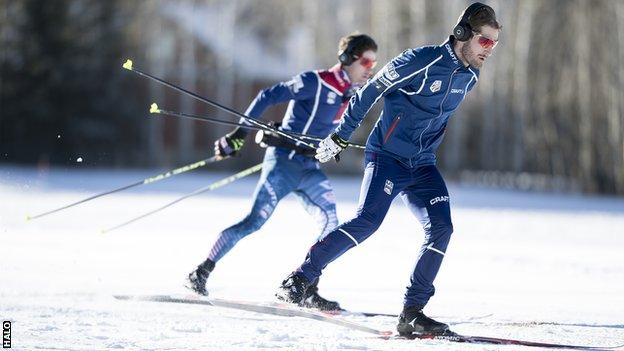 US Nordic combined skiers Bryan and Taylor Fletcher in training