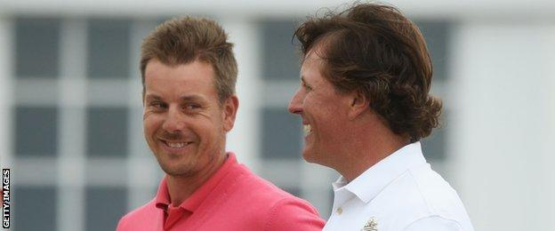 Henrik Stenson (left) and Phil Mickelson at the 2013 Open at Muirfield