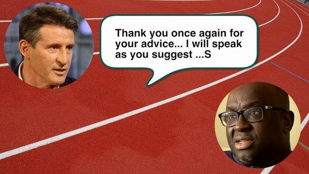 Text message sent by Lord Coe to Papa Massata Diack on 11 August, 2015