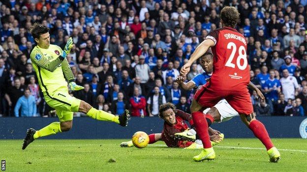Alfredo Morelos' xx-minute goal put Rangers in control
