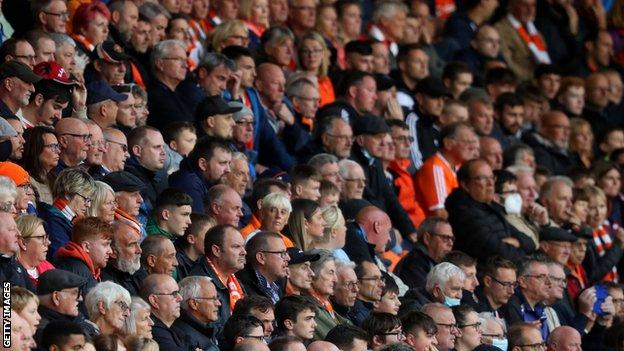 Blackpool fans at Bloomfield Road