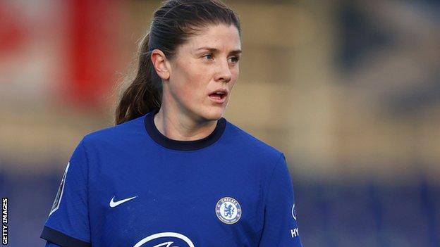 Maren Mjelde in action for Chelsea Women