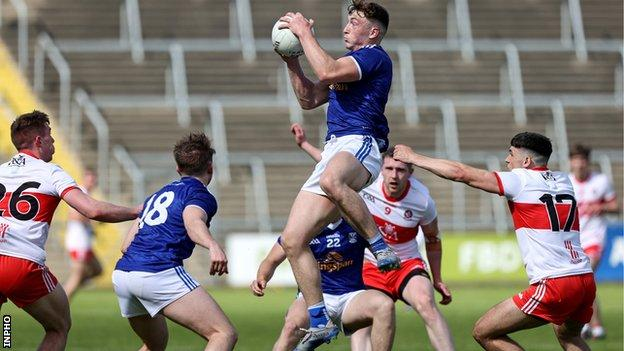 Cavans Conor Brady wins possession in the Three North Division game against Derry two weeks ago