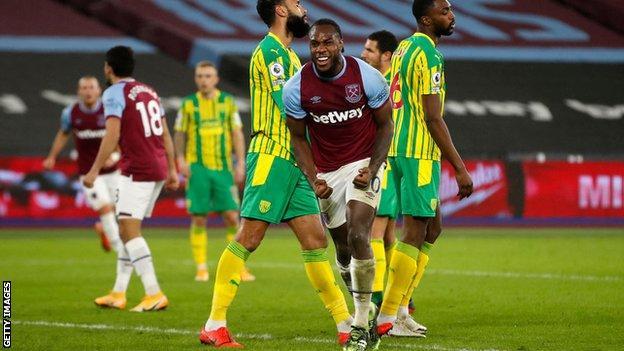 Michail Antonio celebrates after scoring against West Brom