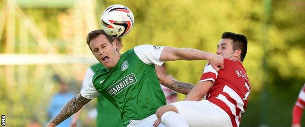 James Keatings (right) in action for Hamilton against Hibs