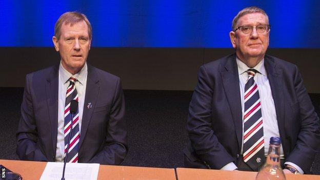 Douglas Park, right, is in interim control at Rangers after the departure of chairman Dave King, left