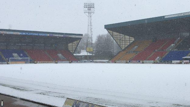 McDiarmid Park is covered in snow