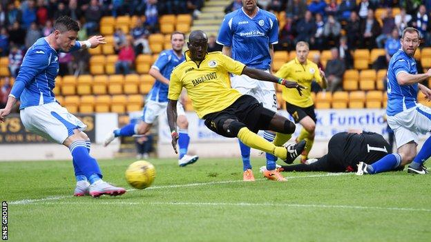 Michael O'Halloran hammered St Johnstone in front after 34 minutes
