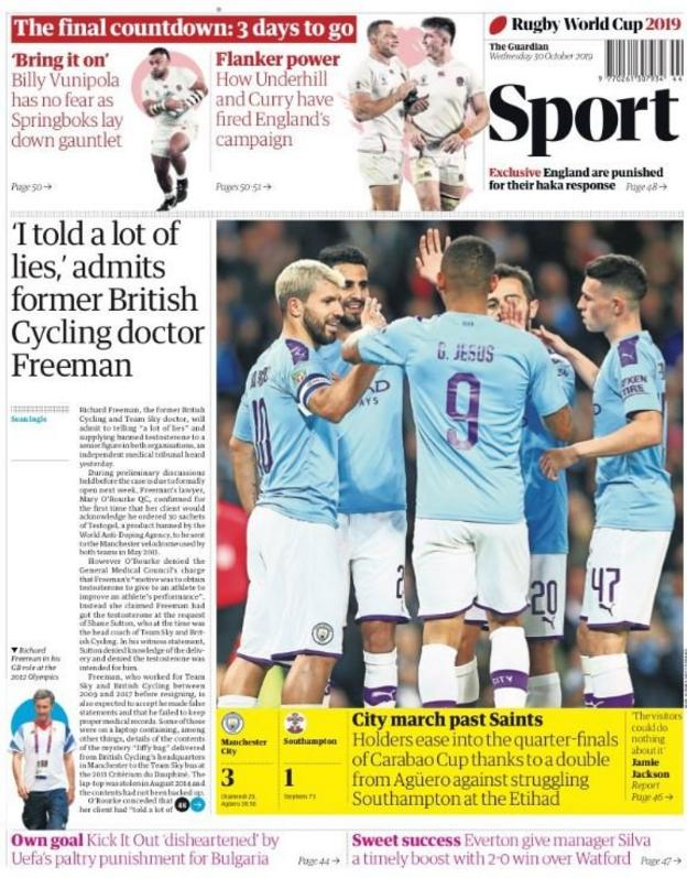 The back page of the Guardian