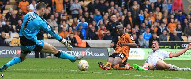 Benik Afobe scores his second goal of the game