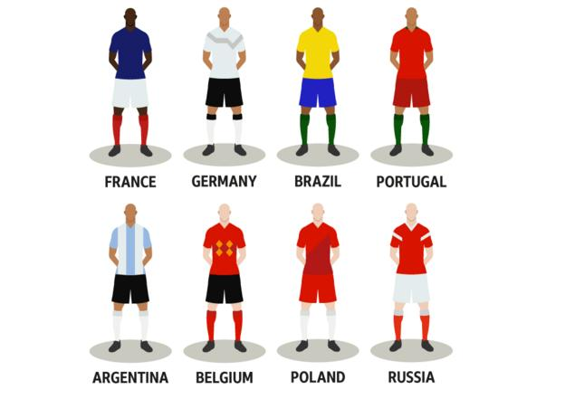 The remaining eight teams: France, Germany, Brazil, Portugal, Argentina, Belgium, Poland, Russia