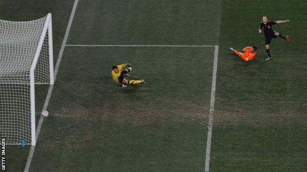 Andres Iniesta's shot in extra time of the World Cup final 2010