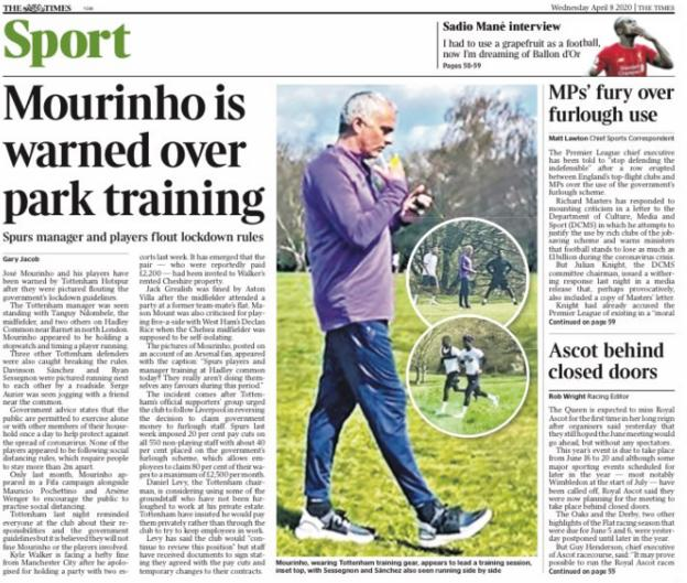 The Times leads on Tottenham warning manager Jose Mourinho for conducting a park training session