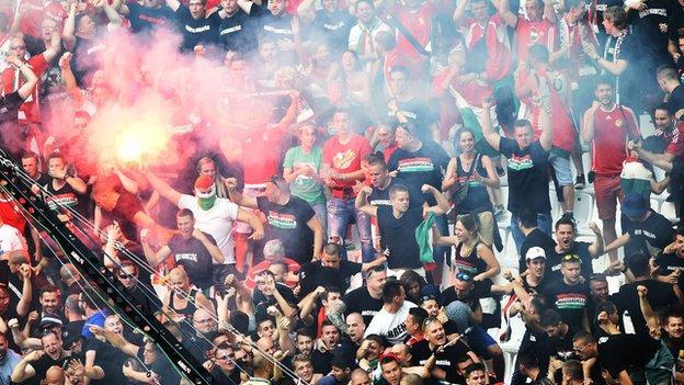 Hungary v Iceland fan disturbance