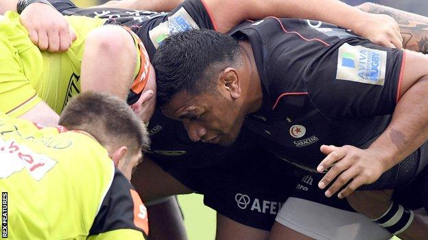 Mako Vunipola scrummages for Saracens