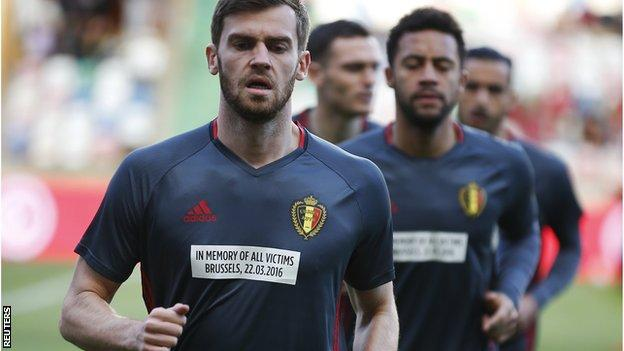 Belgium players wore messages on their shirts