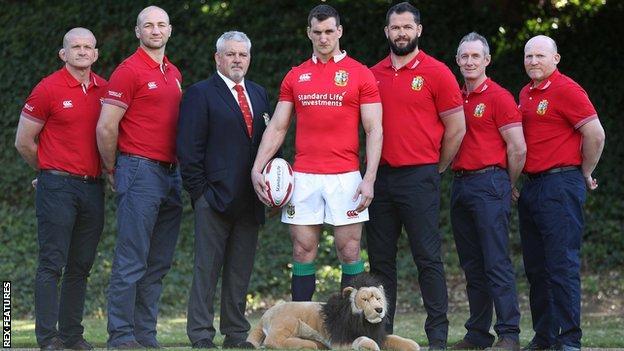 Graham Rowntree, Steve Borthwick, Warren Gatland, Sam Warburton, Andy Farrell, Rob Howley and Neil Jenkins