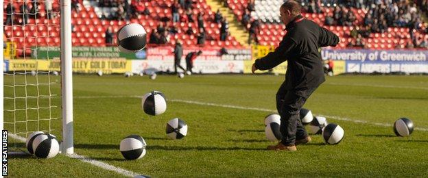 Beach balls were used as part of the protests at Charlton