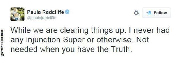 Paula Radcliffe tweet