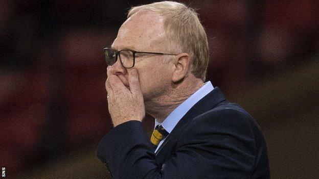 Scotland manager Alex McLeish against Belgium