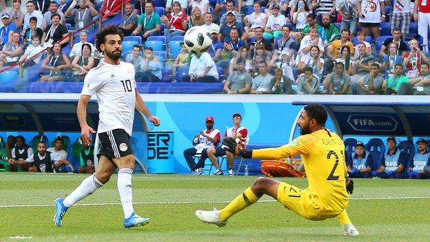 Mohamed Salah scores in the 2018 World Cup against Saudi Arabi