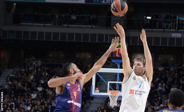 Real Madrid's Luka Doncic shoots during a December 2017 match with Barcelona