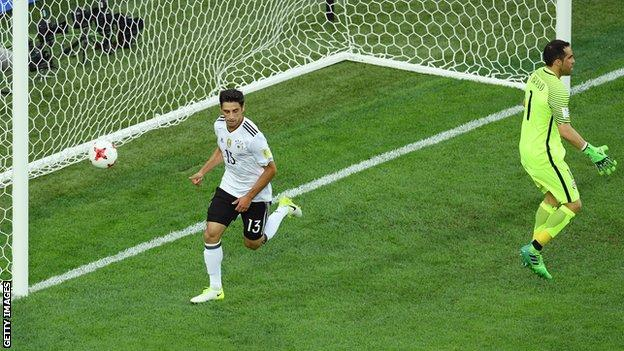 Germany's Lars Stindl celebrates scoring against Chile in the 2017 Confederations Cup final
