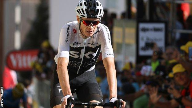 Chris Froome rolls over the finish line during the 2018 Tour de France