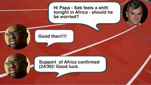 Text message exchange between Nick Davies and Papa Massata Diack on the 18 August, 2015