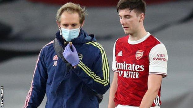 Kieran Tierney was forced off injured in Arsenal's 3-0 loss to Liverpool