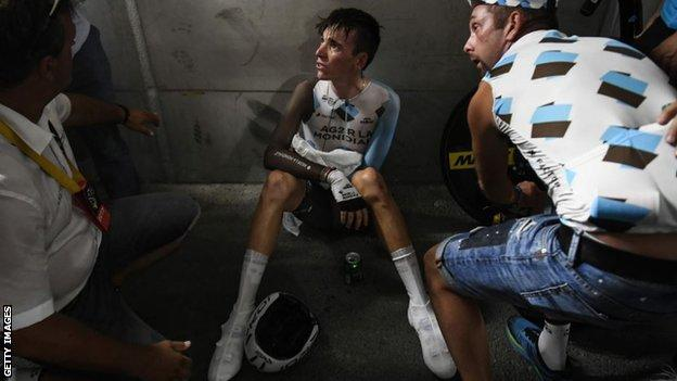AG2R rider Romain Bardet at the end of the time trial