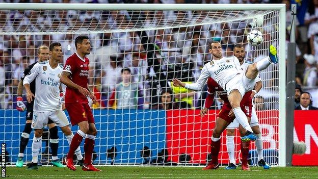 Gareth Bale scores for Real Madrid against Liverpool in the Champions League final