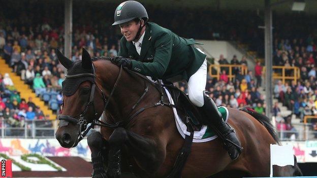 Shane Sweetnam aboard Chaqui Z for Ireland in last year's Aga Khan Trophy at the Dublin Horse Show