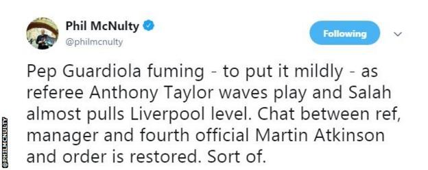 Phil McNulty says Pep Guardiola was fuming after Liverpool are allowed to play on, with fourth official Martin Atkinson having to restore order. Sort of.