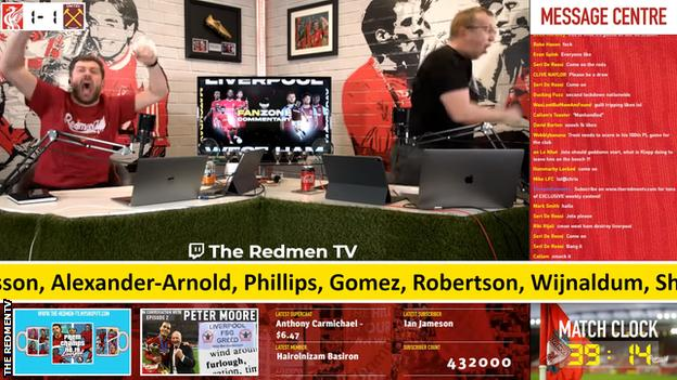 Redmen TV watchalong hosts Paul Machin and Chris Pajak celebrate Liverpool's winner in the 2-1 victory over West Ham