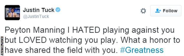 Justin Tuck tweet about Peyton Manning