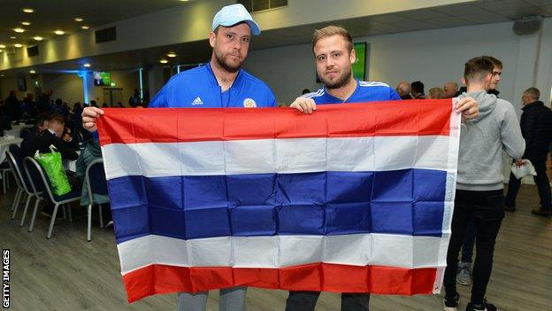 Leicester fans with the Thailand flag
