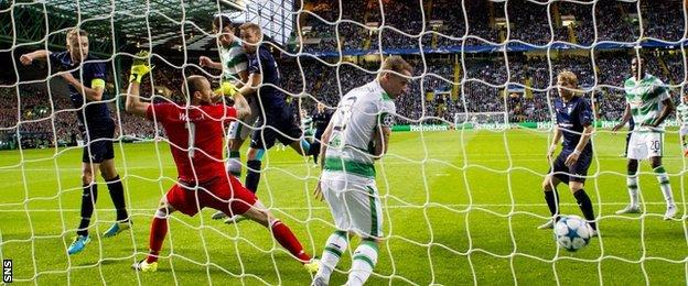 Nir Bitton scores for Celtic against Malmo