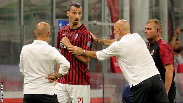 Stefano Pioli (second right, pictured with AC Milan striker Zlatan Ibrahimovic) has also managed Lazio, Inter Milan and Fiorenina among others