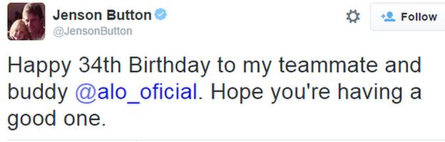 Jenson Button wishes Fernando Alonso a Happy Birthday on Twitter