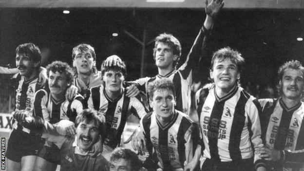 Chorley's players celebrate after beating Wolves in the FA Cup first round in 1986