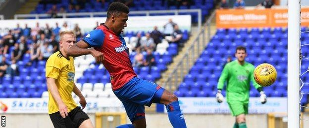 Nathan Austin scores the opening goal for Inverness Caledonian Thistle against Cove Rangers