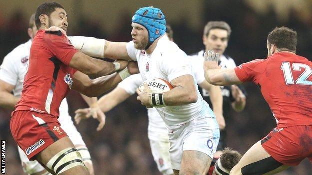 England flanker James Haskell tries to force his way past Wales' Taulupe Faletau in their 2015 Six Nations match
